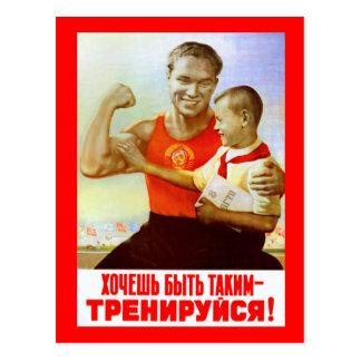 Propaganda soviética del ejercicio tarjeta postal