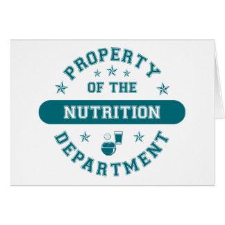 Propiedad del departamento de la nutrición tarjeta de felicitación
