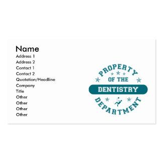 Propiedad del departamento de la odontología tarjeta de visita