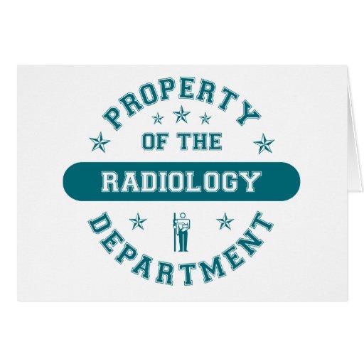 Propiedad del departamento de la radiología tarjetas