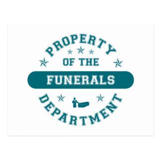 Propiedad del departamento de los entierros tarjetas postales