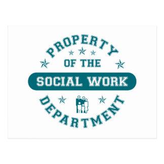 Propiedad del departamento del trabajo social tarjeta postal