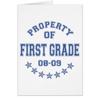 Propiedad del primer grado tarjeta de felicitación