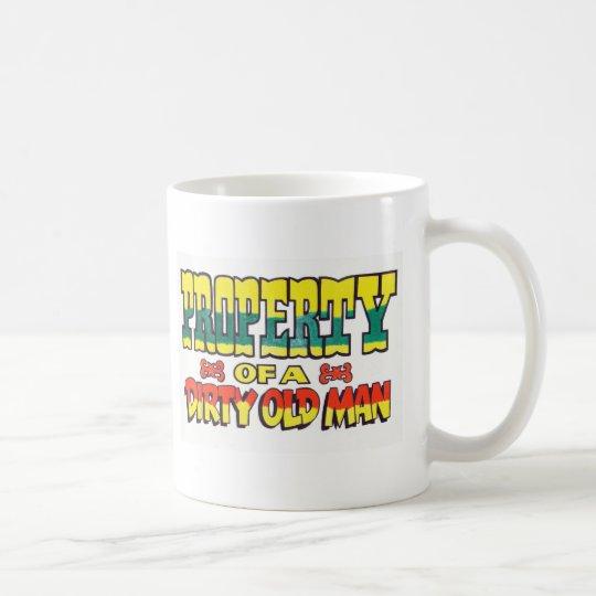 Propiedad del viejo hombre sucio taza de café
