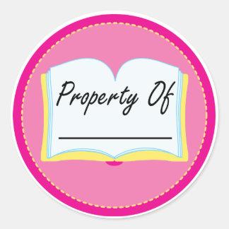 Propiedad rosada del libro de los Bookplates de la Pegatina Redonda