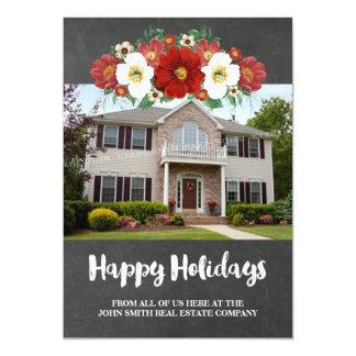 Propiedades inmobiliarias de la foto floral roja invitación 12,7 x 17,8 cm