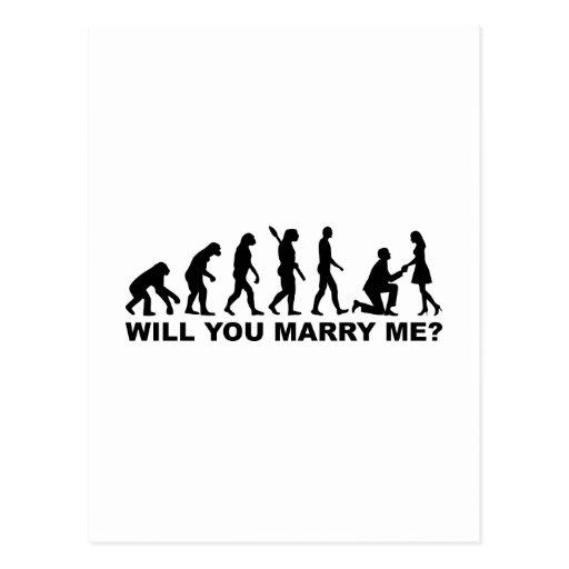 Propuesta de matrimonio del boda de la evolución postal