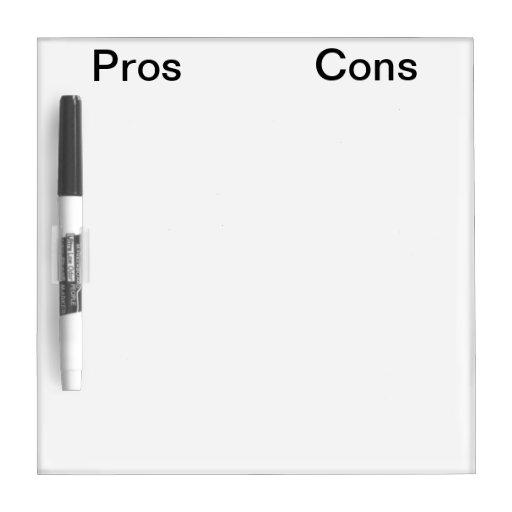 Pros - y - tablero del marcador del contra pizarras blancas