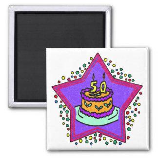 Protagonice los 50.os regalos de cumpleaños imán cuadrado