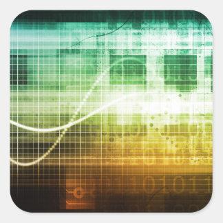 Protección de datos y exploración de la seguridad pegatina cuadrada