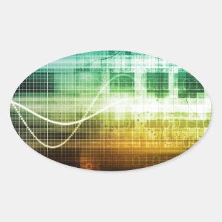 Protección de datos y exploración de la seguridad pegatina ovalada