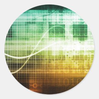 Protección de datos y exploración de la seguridad pegatina redonda