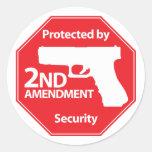 Protegido por la 2da enmienda - rojo etiqueta redonda