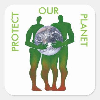 Proteja a nuestros pegatinas del planeta pegatina cuadrada