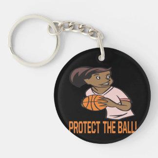 Proteja la bola llavero redondo acrílico a una cara