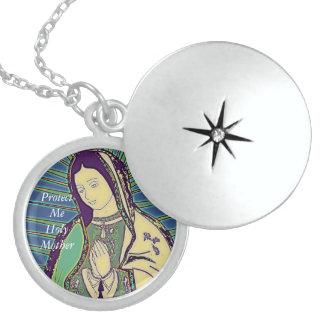 protéjame madre santa collar de plata de ley