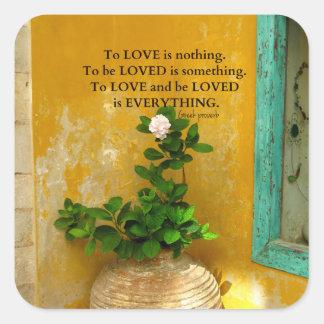 proverbio del Griego de la cita del amor del Pegatina Cuadrada