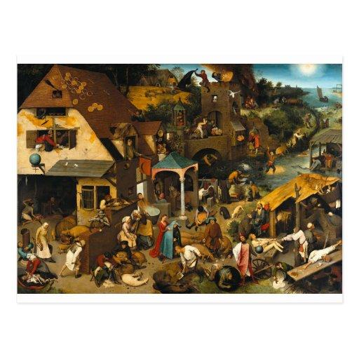 Proverbios holandeses de Pieter Bruegel la anciano Tarjeta Postal