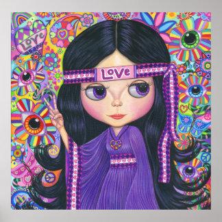 Psicodélico púrpura de la muñeca del chica del póster