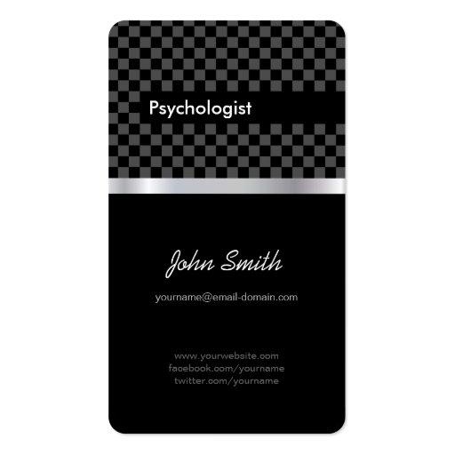 Psicólogo - a cuadros negro elegante plantillas de tarjetas personales