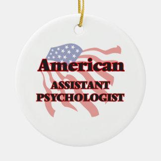 Psicólogo auxiliar americano adorno navideño redondo de cerámica