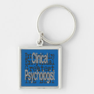 Psicólogo clínico Extraordinaire Llavero Cuadrado Plateado
