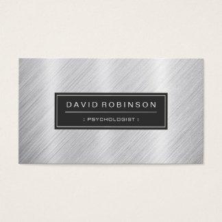 Psicólogo - mirada cepillada moderna del metal tarjeta de negocios
