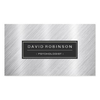 Psicólogo - mirada cepillada moderna del metal tarjetas de visita
