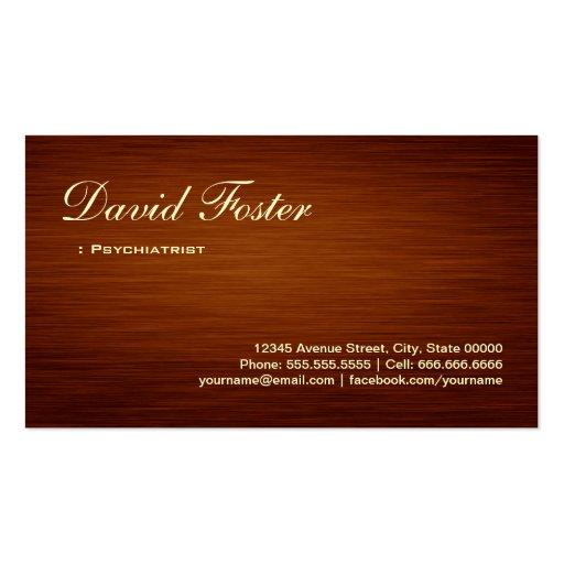 Psiquiatra - mirada de madera del grano tarjetas personales