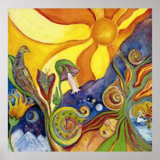 Psychedelic especie - 60s hippie Woman - Sun Birds Poster