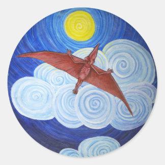Pterodactyl en vuelo pegatina redonda
