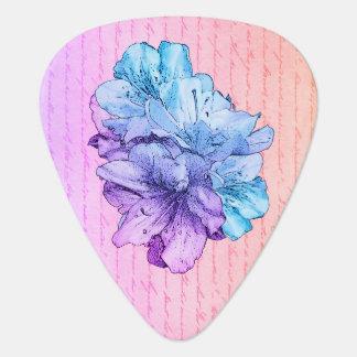 Púa De Guitarra Ahorre el ejemplo azul de la flor del rosa de la