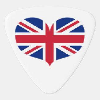 Púa De Guitarra Bandera en forma de corazón/Union Jack de Reino