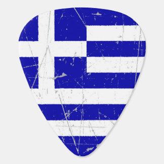 Púa De Guitarra Bandera griega rascada y rasguñada