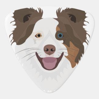 Púa De Guitarra Border collie feliz de la cara de los perros del