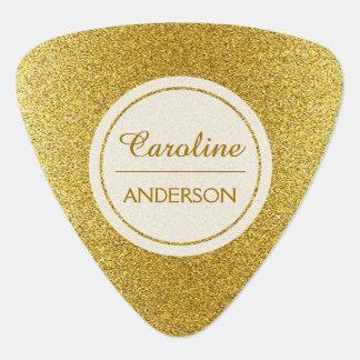 Púa De Guitarra Brillo elegante del oro con el texto de encargo