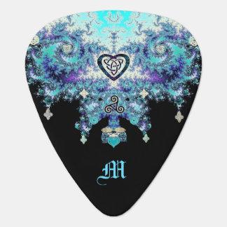 Púa de guitarra céltica del negro del fractal de