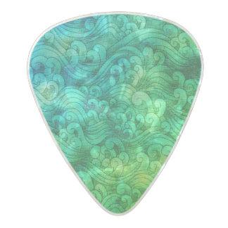 Púa De Guitarra Celuloide Nacarado Acuarela de las ondas de marea del océano del