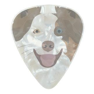 Púa De Guitarra Celuloide Nacarado Border collie feliz de la cara de los perros del