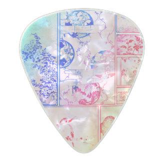 Púa De Guitarra Celuloide Nacarado El pájaro asiático del collage colorido de la