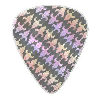 Púa De Guitarra Celuloide Nacarado Flor de lis en colores pastel de la tela escocesa