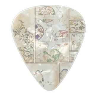 Púa De Guitarra Celuloide Nacarado Nishiki asiático del tsuzure del collage de la