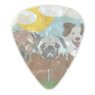 Púa De Guitarra Celuloide Nacarado Perros afortunados del ilustracion en una cerca de