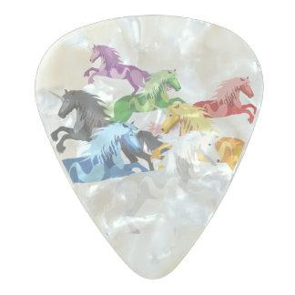 Púa De Guitarra Celuloide Nacarado Unicornios salvajes coloridos del ejemplo
