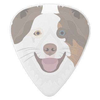 Púa De Guitarra Delrin Blanco Border collie feliz de la cara de los perros del