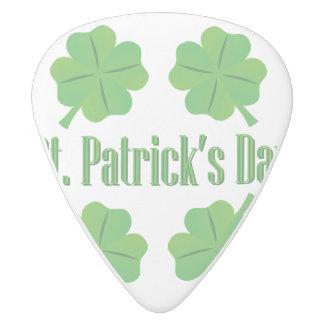Púa De Guitarra Delrin Blanco El día de St Patrick con el trébol
