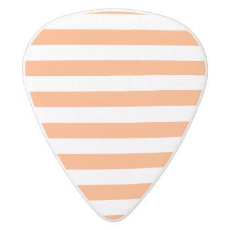 Púa De Guitarra Delrin Blanco Modelo anaranjado y blanco de la raya