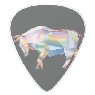 Púa De Guitarra Delrin Blanco Prisma del arco iris de Bull del tauro