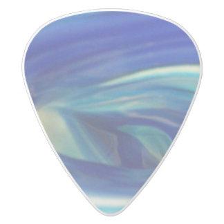Púa De Guitarra Delrin Blanco Remolino de cristal azul