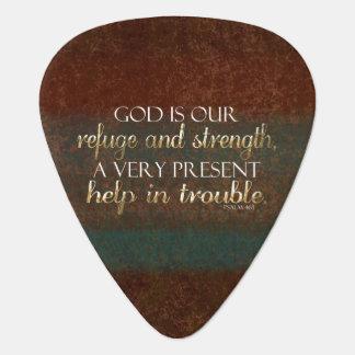 Púa De Guitarra Dios es nuestro verso cristiano Brown/oro de la